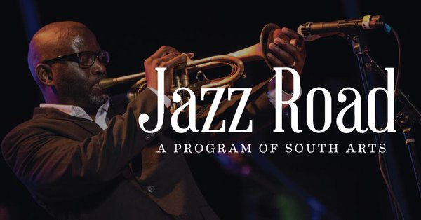 """The words """"Jazz Road A Program of South Arts are superimposed in white over an image of a man playing a trumpet."""