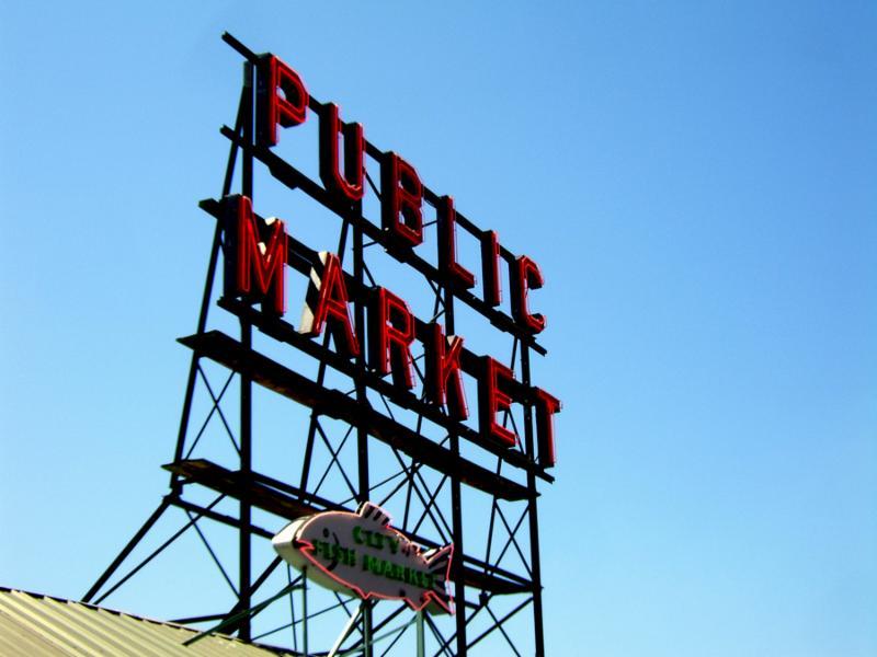Photo taken of the Public Market Sign in Seattle Washington.