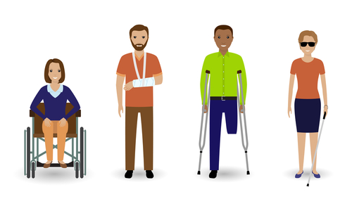Disability people. Group of invalid men and women isolated on a white background. Flat style illustration.