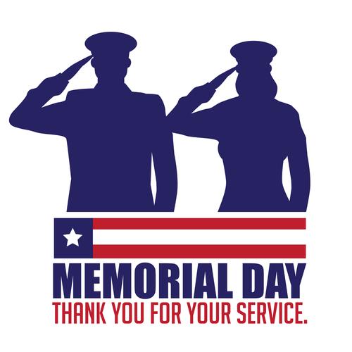 Memorial Day design with saluting soldiers.