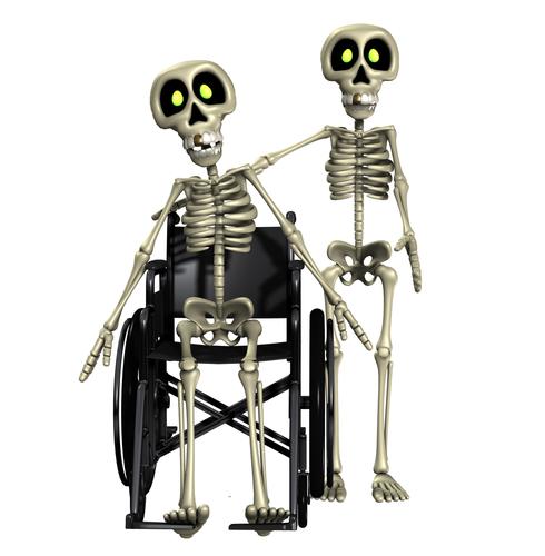 Skeleton helping out disabled Skeleton.