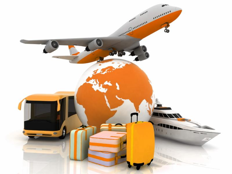 types of transport liners with a globe and luggage