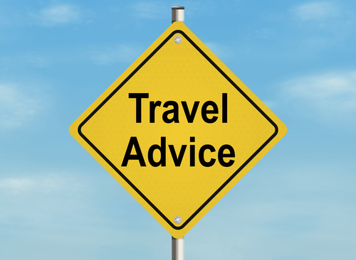 Travel advice. Road sign on the sky background. Raster illustration.