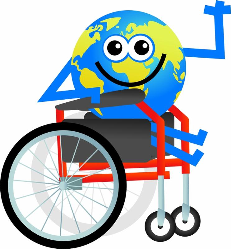 cartoon globe man sitting in a disabled wheelchair