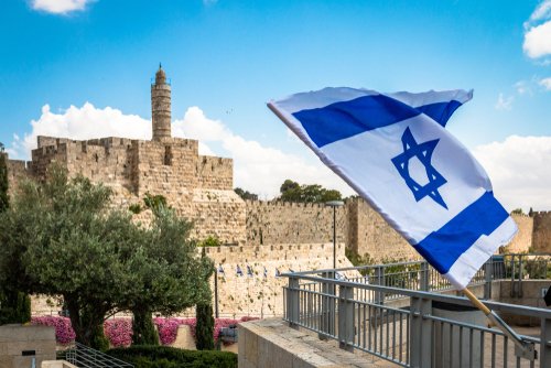 Israeli flag with David tower _ Jerusalem _ Israel