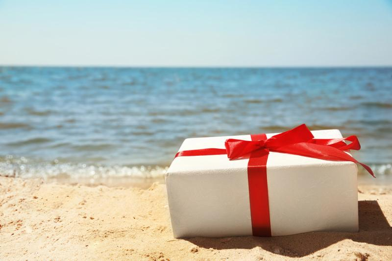 Gift box on beach