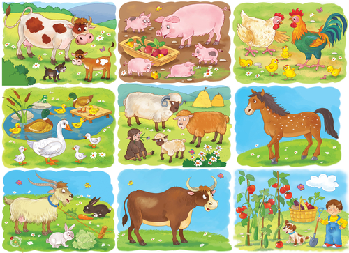 Collection of pictures with cute farm animals. Cow_ pig_ hen_ rooster_ chicks_ sheep_ horse_ goat_ bull_ rabbit. Coloring page. Illustration for children. Funny cartoon characters.