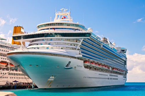 Cruise ship anchored in Philipsburg_ St. Maarten