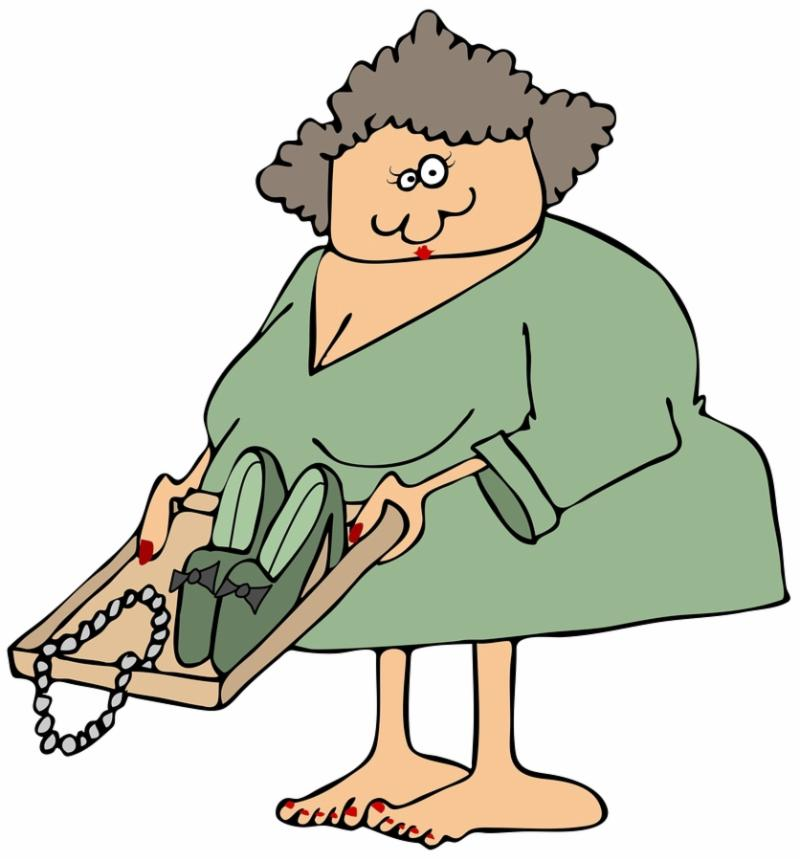 This illustration depicts a barefoot woman holding a tray with her shoes and necklace at an airport security checkpoint.
