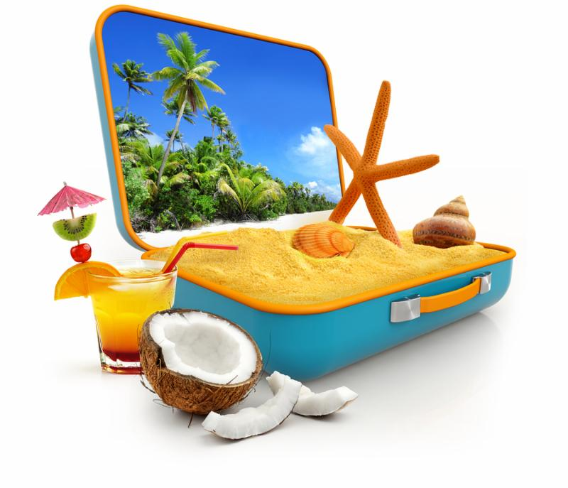 sand and shells in a suitcase isolated on white background