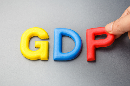 Hand arrange alphabet letters as GDP_ abbreviation of Gross Domestic Product