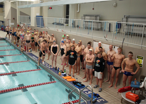 swimmers on deck, meet, spirit