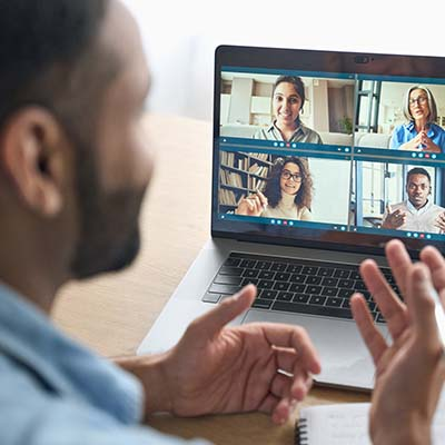 Man participating in video chat