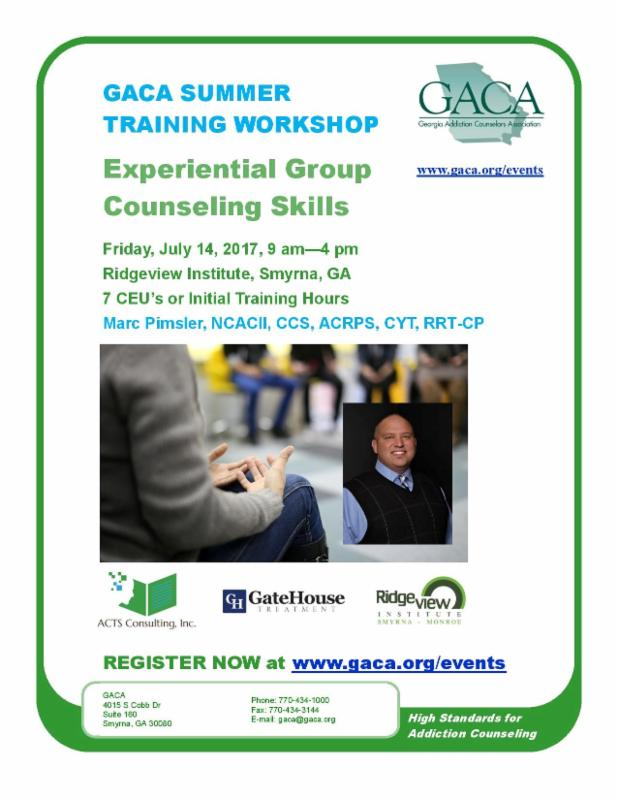 GACA Summer Training Workshop @ Ridgeview Institute | Smyrna | Georgia | United States