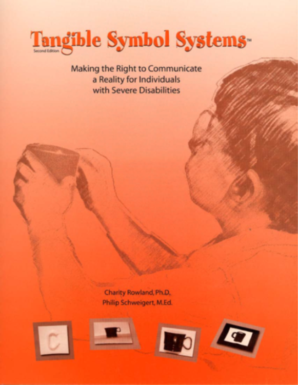 Orange and red book cover with the title Tangible Symbol Systems.