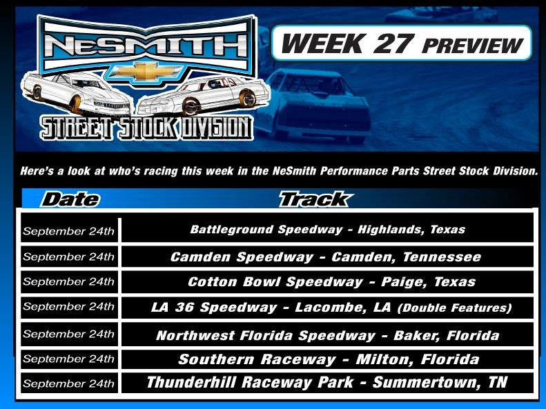 Nesmith Chevrolet Claxton Ga >> Nesmith Performance Parts Street Stock Division Week 27 Preview