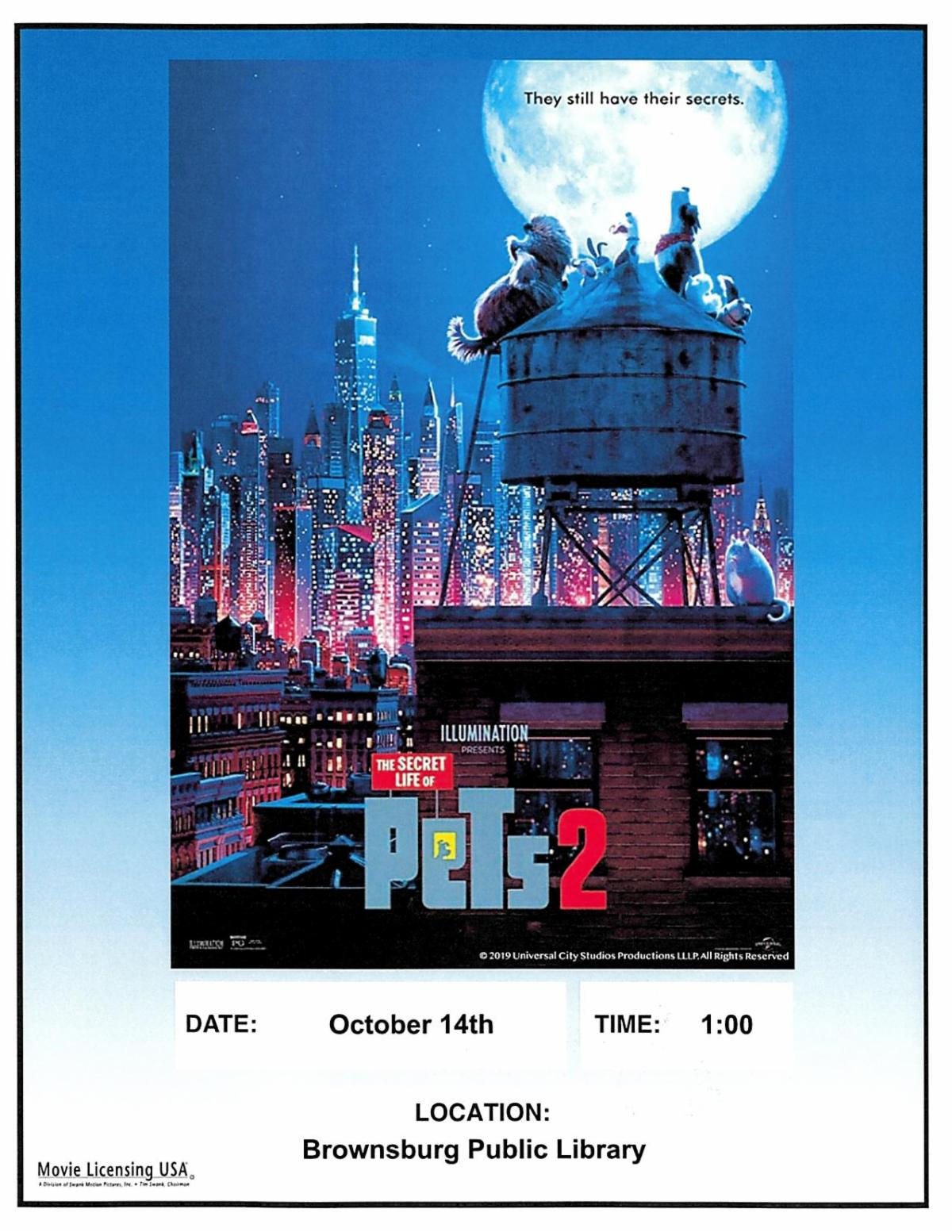 fall break movie matinee the secret life of pets 2 monday october 14 1 pm