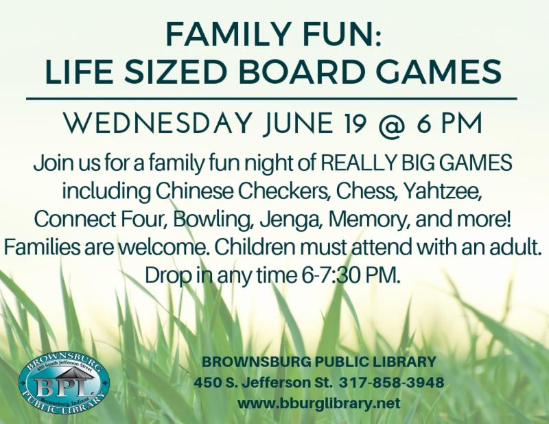 life sized board games wednesday june 19 6 pm
