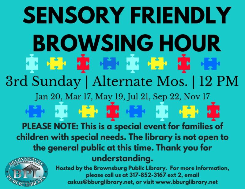 sensory friendly browsing hour sunday september 22 12 pm