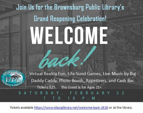 grand reopening celebration welcome back_ tickets _25 this event is for ages 21 and up saturday february 22 7-10 pm
