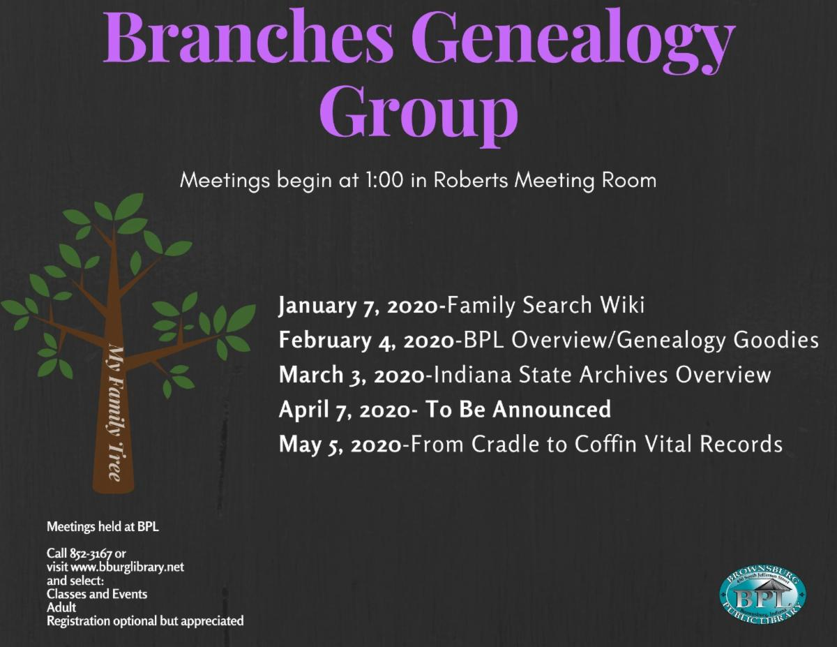 branches genealogy tuesday february 4 1 pm genealogy goodies