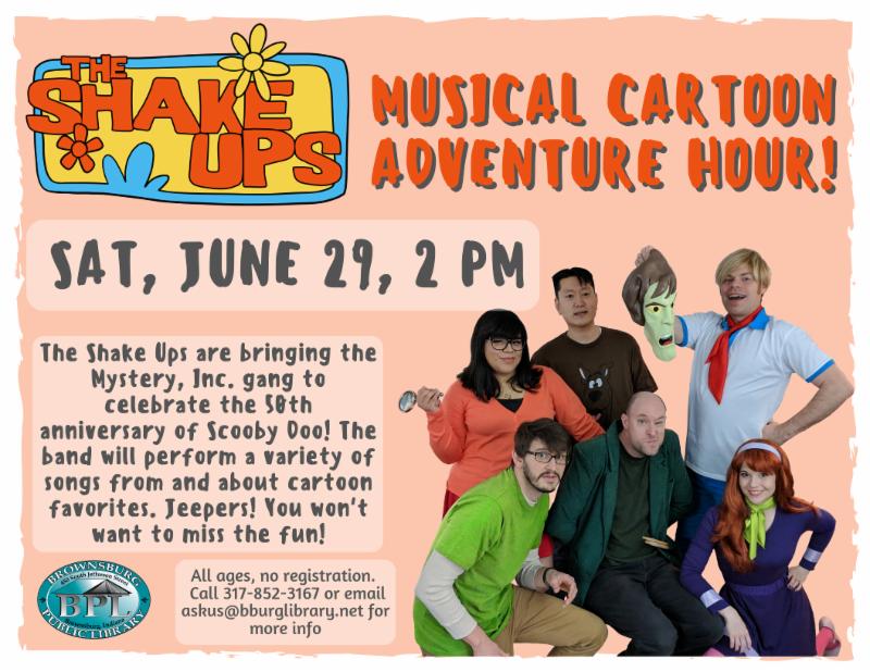 shake ups musical cartoon adventure hour saturday june 29 2 pm