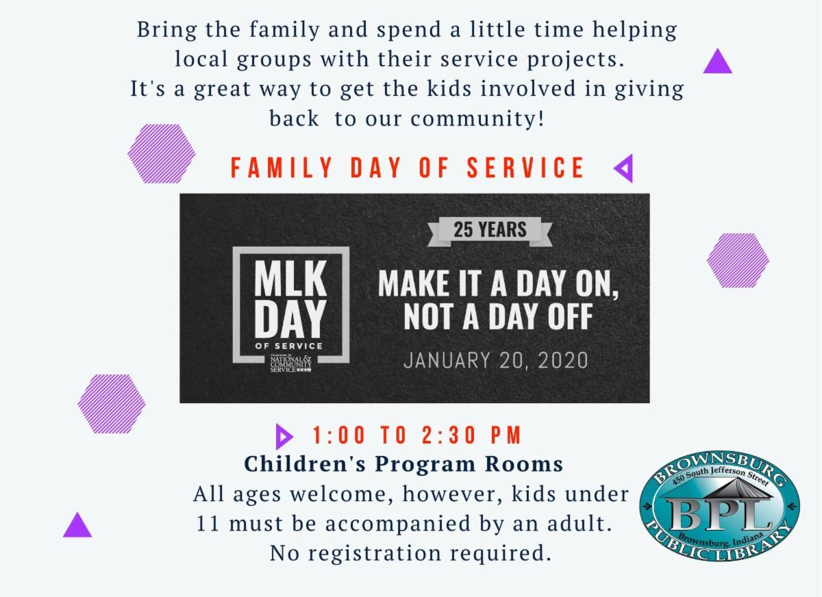 mlk family day of service monday january 20 1 pm