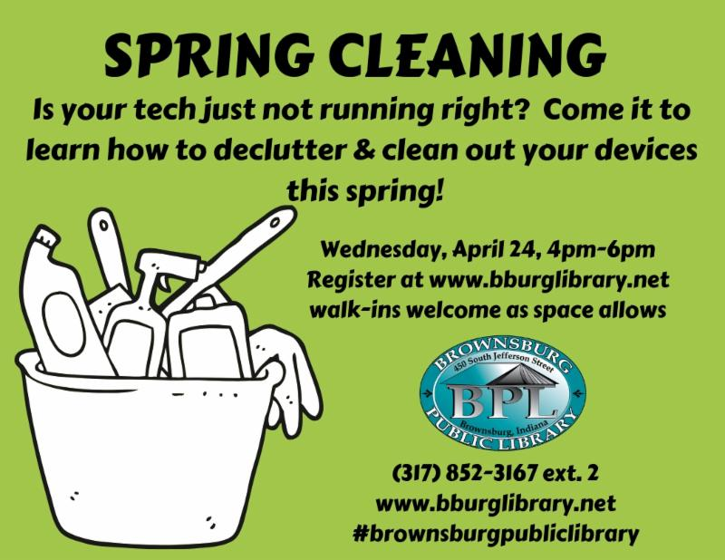 Spring Cleaning wednesday april 24 4 pm