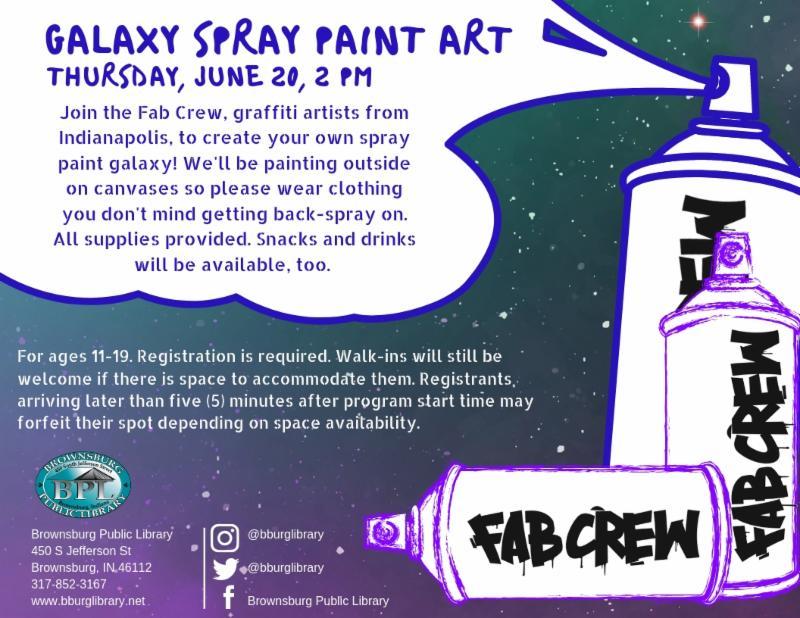 galaxy spray paint art thursday june 20 2 pm