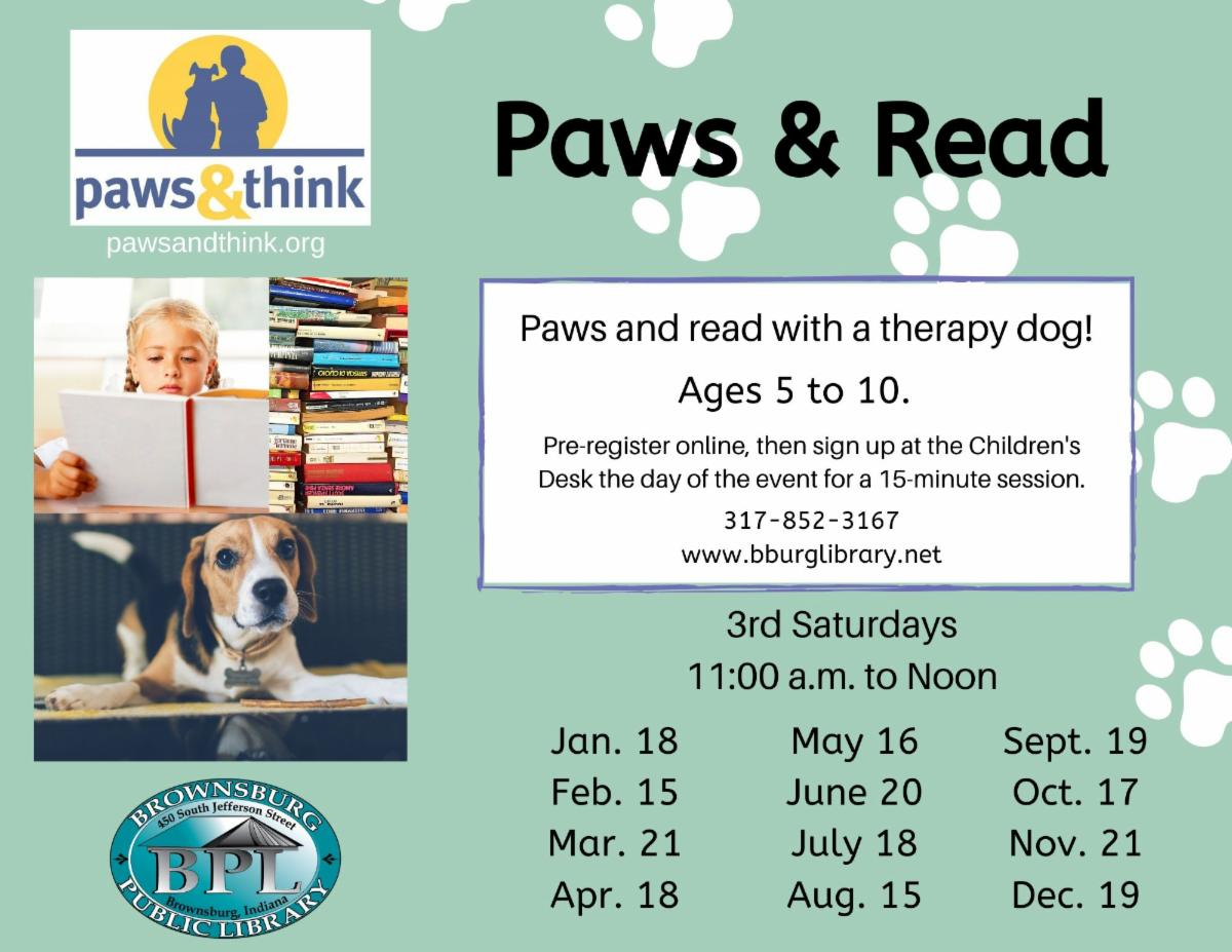 paws and read saturday january 18 11 am