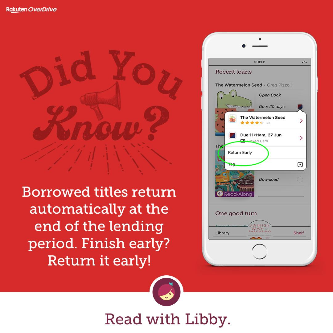 did you know borrowed titles return automatically at the end of the lending period. finish early_ return it early_ read with libby