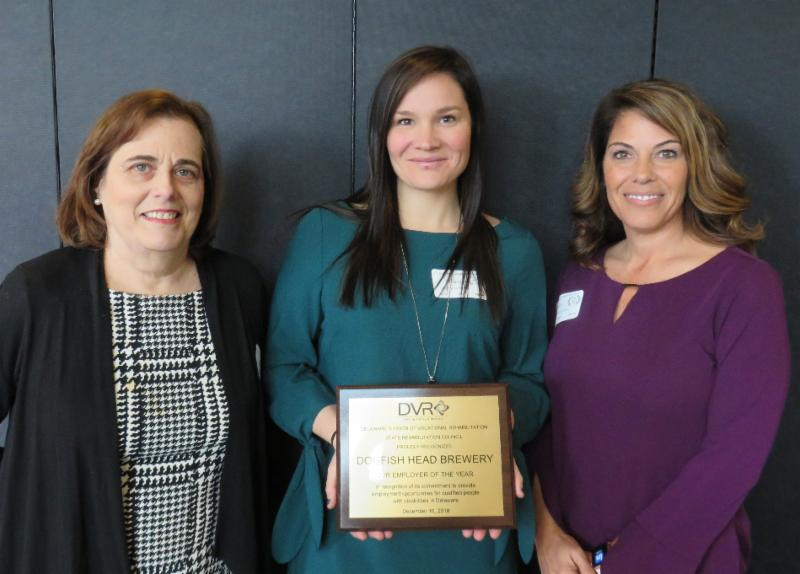 Dogfish Head Brewery, Employer of the Year.  Pictured above: Andrea Guest, DVR Director; Hilary Wright, Dogfish Head Brewery; and Denise Crockett, DVR Business Relations Specialist.