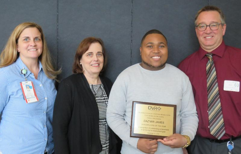 Pictured here: Lisa Enright, Capital School District; Andrea Guest, DVR Director; Daz'mir James; and Dale Matusevich, Department of Education.