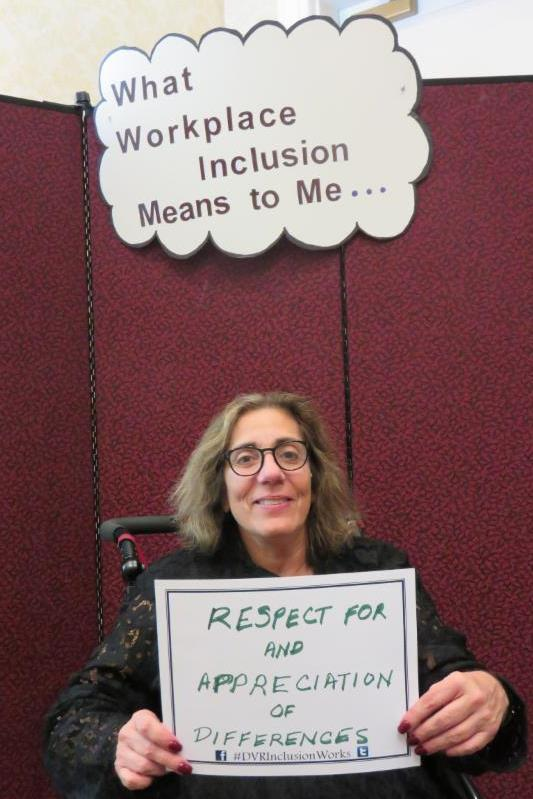 Jackie Poquette participating in the What Workplace Inclusion Means to Me activity.