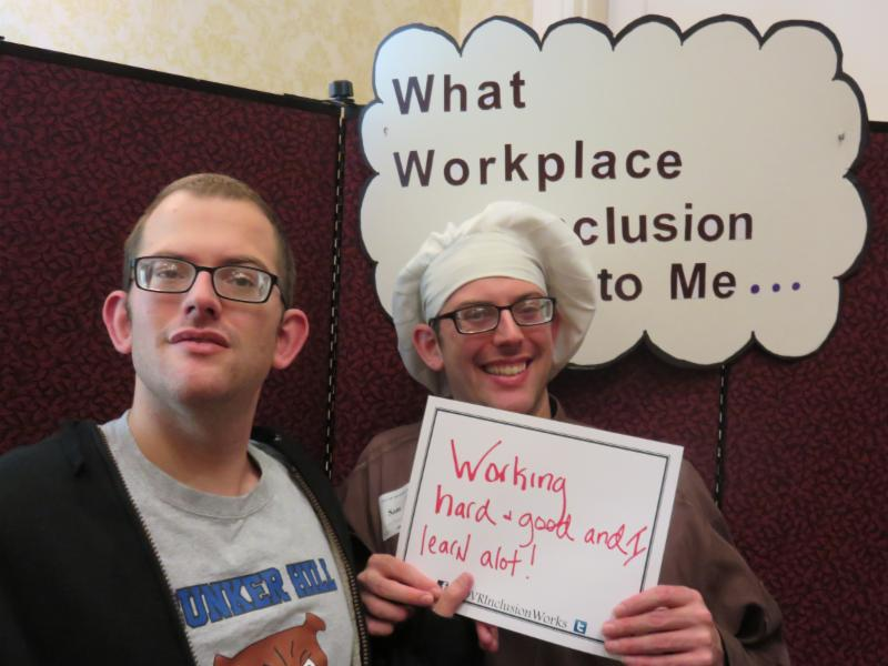 Brothers Adam and Sam Kanefsky participate in the What Workplace Inclusion Means to Me activity.
