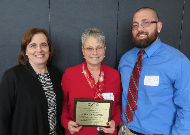 Pictured here: Andrea Guest, DVR Director; Mary Jo Verdery; and Mike Papili, DVR Vocational Rehabilitation Counselor.