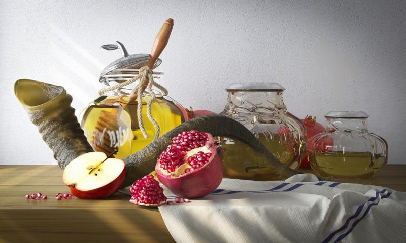 Honey jar with apples and pomegranate for Rosh Hashana religious holiday