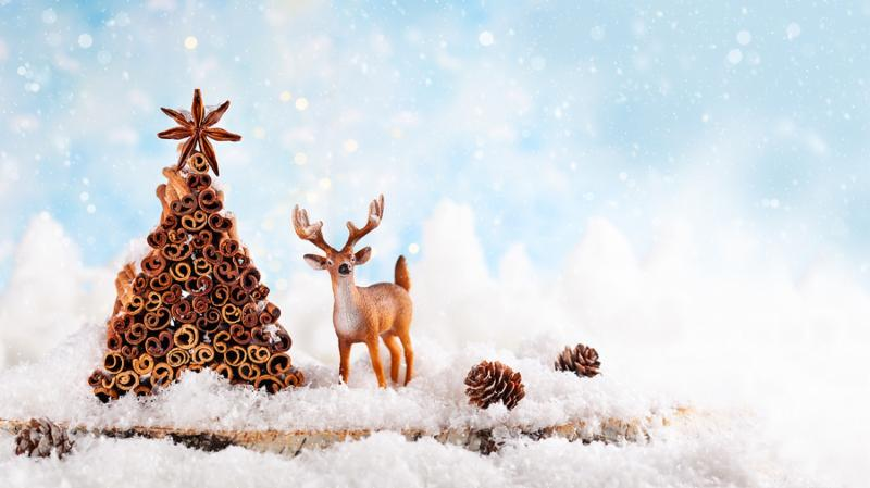 Christmas holiday concept with deer_ pine cone and Christmas tree made from stock of cinnamon and anise star.