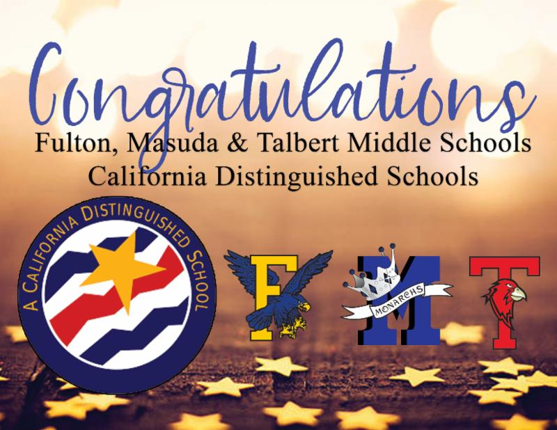 All Three Middle Schools Named CA Distinguished Schools