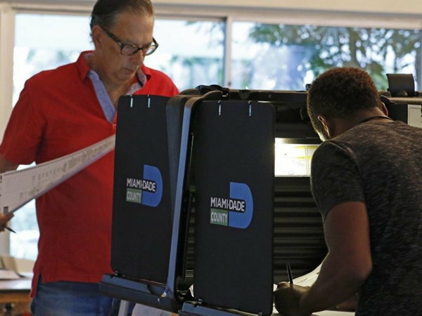 Voters casting ballots in Miami-Dade