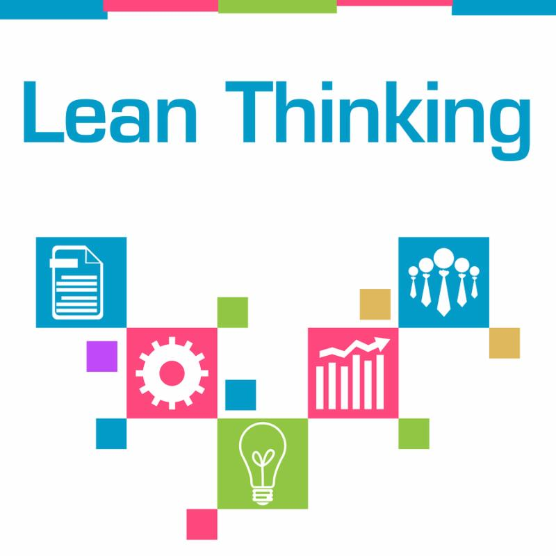 Lean thinking text written over colorful background.