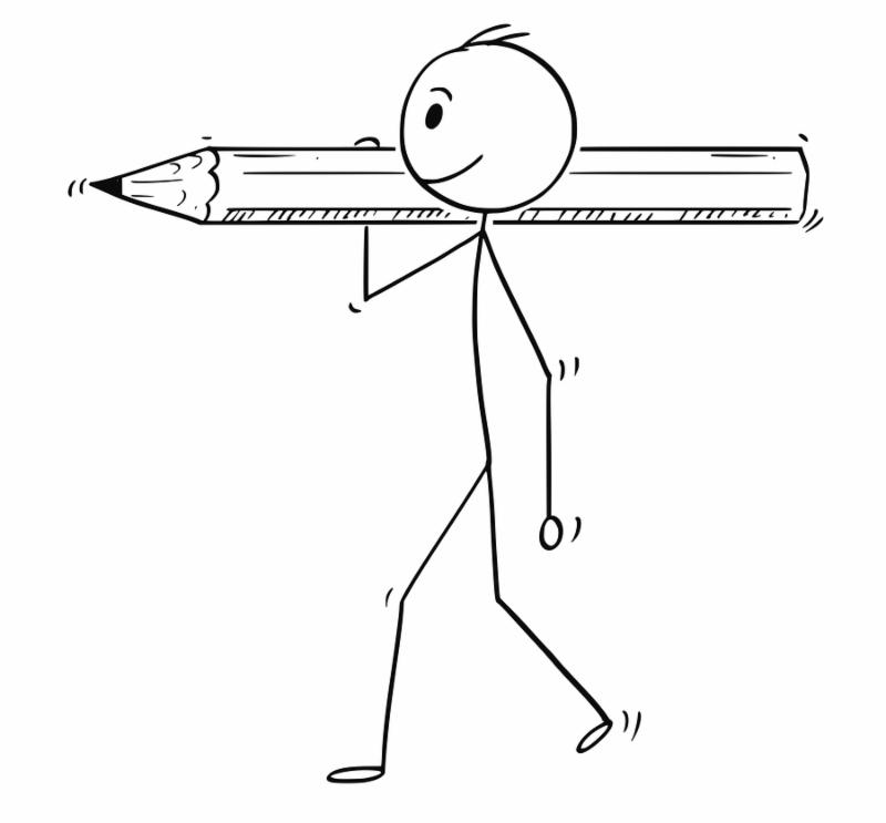 Cartoon stick man drawing conceptual illustration of businessman carrying big pencil. Business concept of paperwork and bureaucracy.