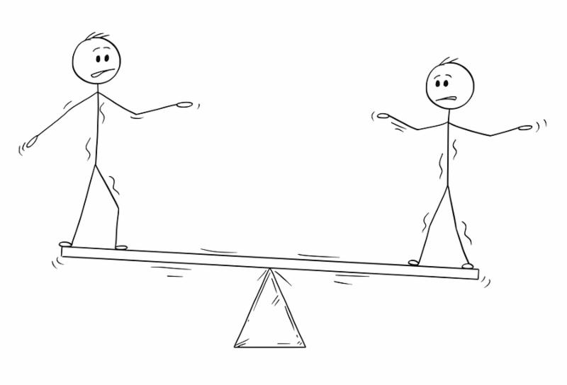 Cartoon stick man drawing conceptual illustration of two businessmen standing on seesaw trying to balance. Business concept of teamwork and individuality effort.