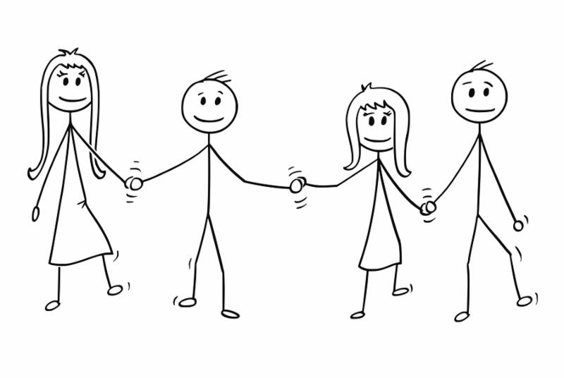 Cartoon stick drawing illustration of four children_ two boys and girls_ walking together while holding hands.