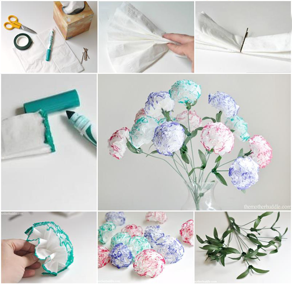 Photos of the steps to make paper flowers.