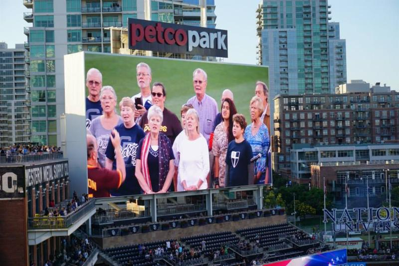 A diocesan wide choir shows up on the big screen at last year's Episcopal Night at Petco Park. It could be you this year!