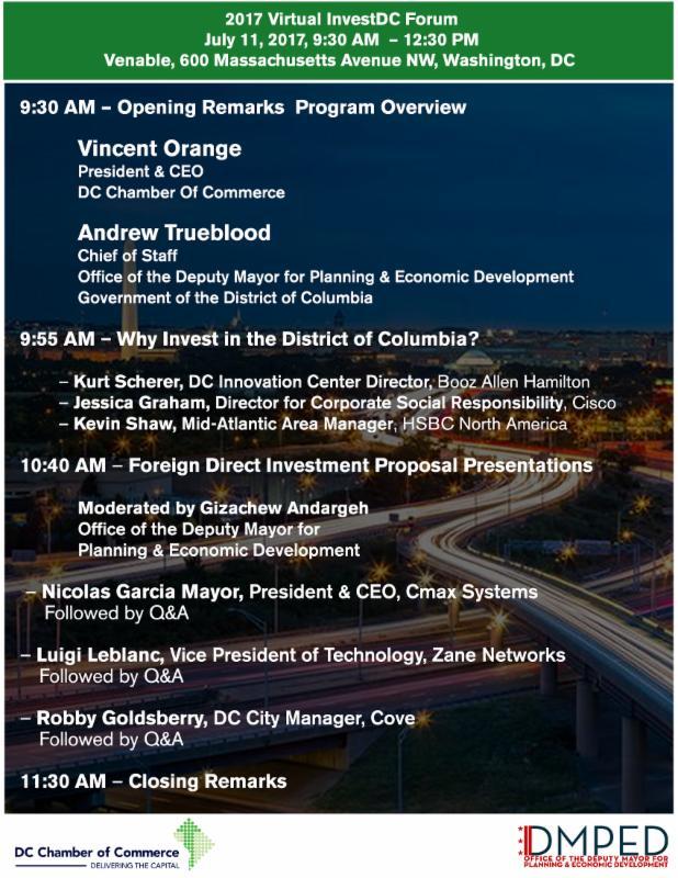 Virtual InvestDC Agenda