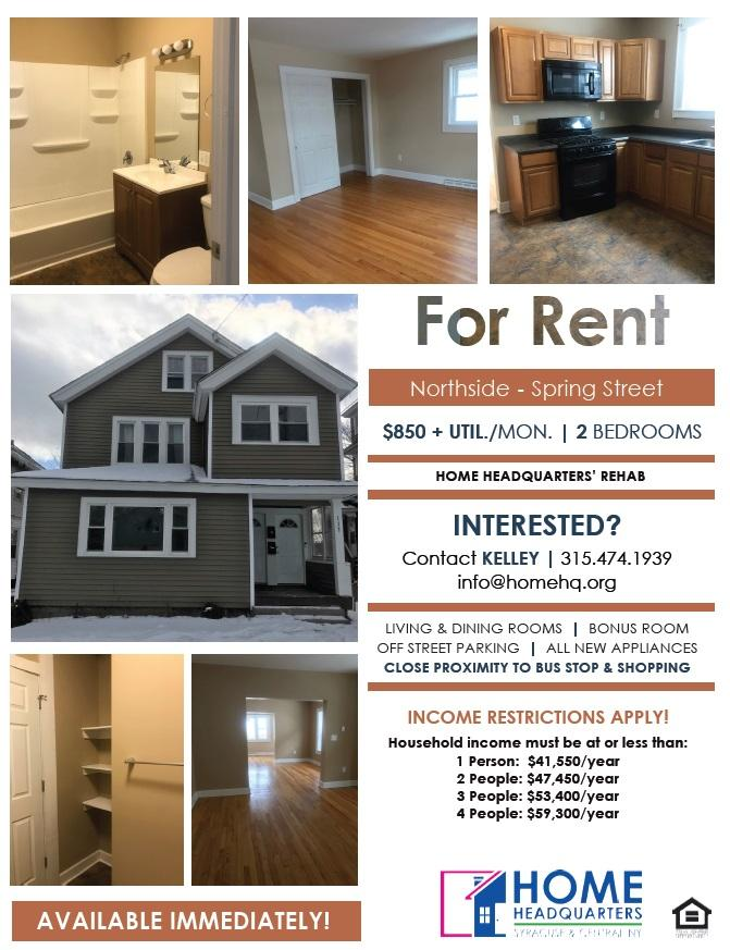 Spring Street 2 Bedroom Apartment for Rent