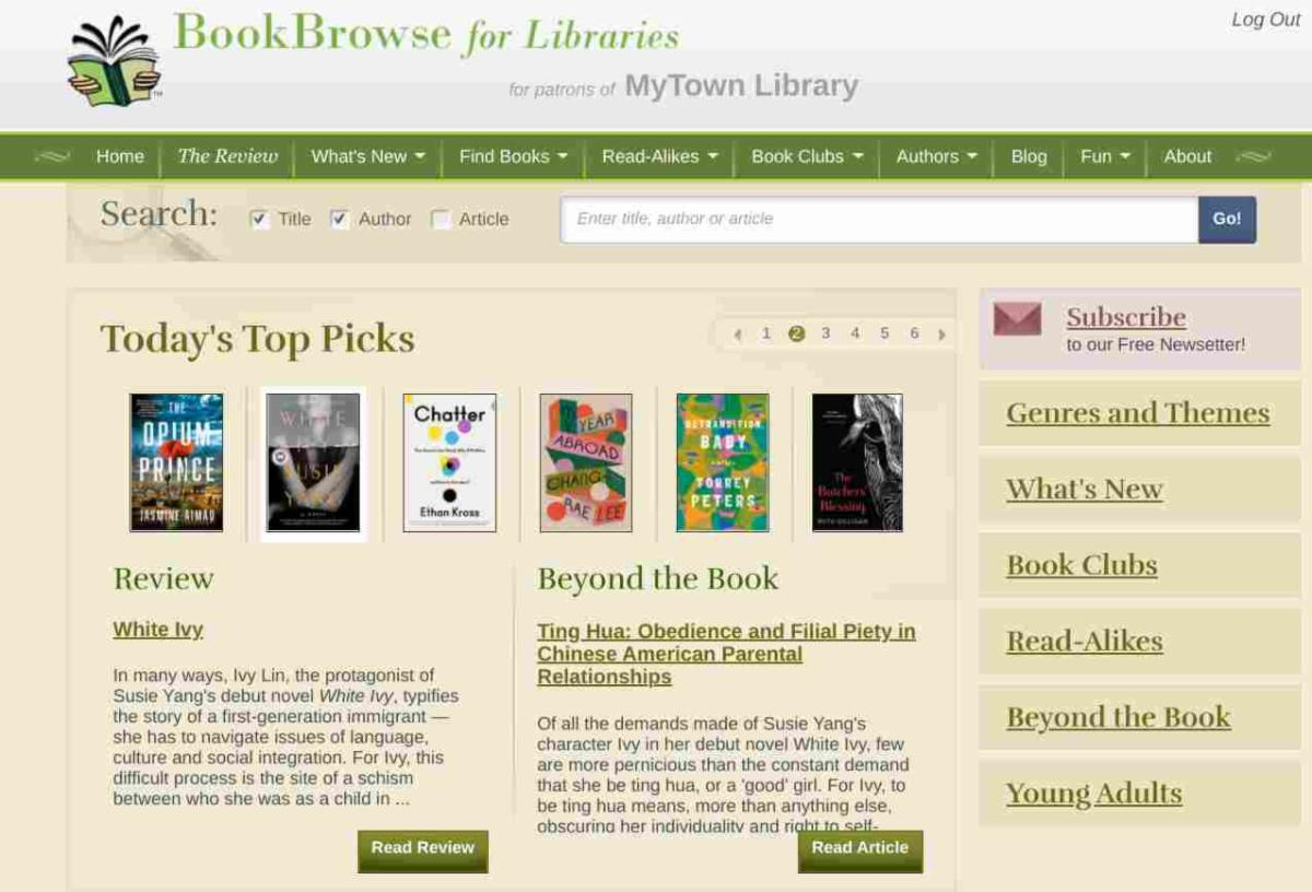 Library landing page screenshot
