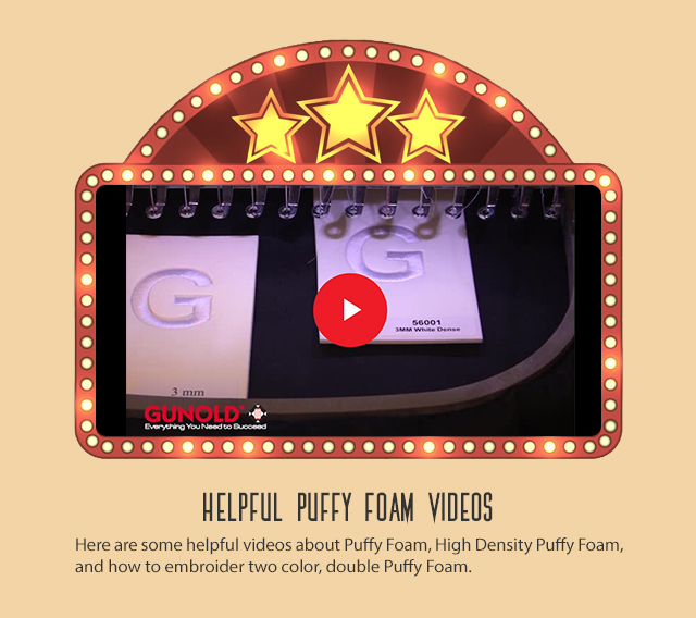 helpful puffy foam videos here are some helpful videos about puffy foam, highdensity puffy foam, and how to embroider two color double puffy foam